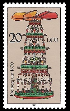 20 Pf Briefmarke: Weihnachtspyramiden aus dem Erzgebirge, Freiberg