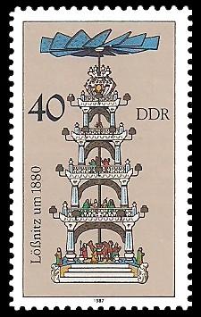 40 Pf Briefmarke: Weihnachtspyramiden aus dem Erzgebirge, Lößnitz