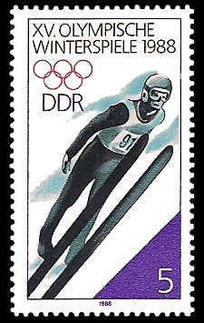 5 Pf Briefmarke: XV. Olympische Winterspiele 1988, Skispringen