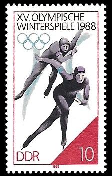 10 Pf Briefmarke: XV. Olympische Winterspiele 1988, Eisschnelllauf