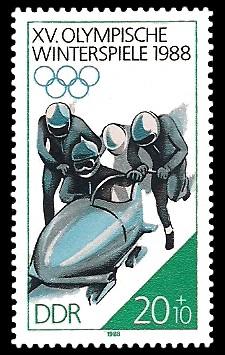 20 + 10 Pf Briefmarke: XV. Olympische Winterspiele 1988, Viererbob