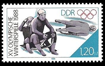 1,20 M Briefmarke: XV. Olympische Winterspiele 1988, Rennrodeln