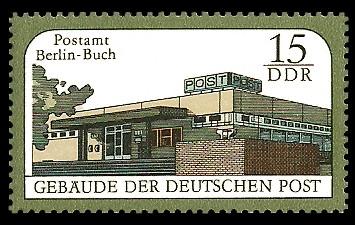 15 Pf Briefmarke: Gebäude der Deutschen Post, Postamt Berlin-Buch