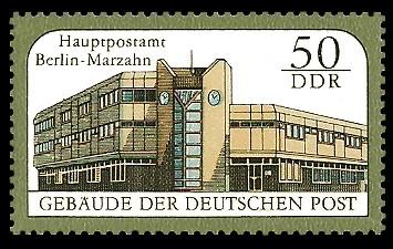 50 Pf Briefmarke: Gebäude der Deutschen Post, Hauptpostamt Berlin-Marzahn