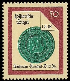 50 Pf Briefmarke: Historische Siegel, Tuchmacher Frankfurt/O