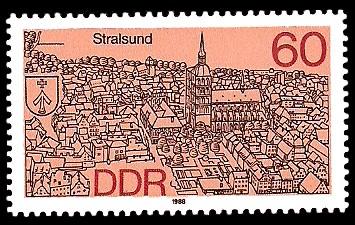 60 Pf Briefmarke: Stadtansichten, Stralsund