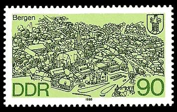 90 Pf Briefmarke: Stadtansichten, Bergen