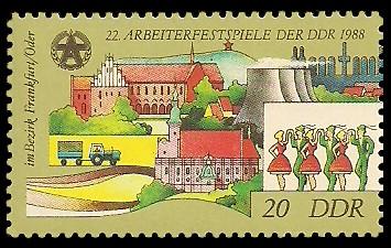 20 Pf Briefmarke: 22. Arbeiterfestspiele der DDR