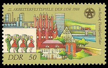 50 Pf Briefmarke: 22. Arbeiterfestspiele der DDR