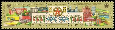 Briefmarke: Dreierstreifen - 22. Arbeiterfestspiele 1988