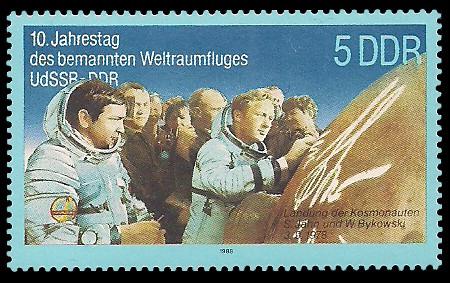 5 Pf Briefmarke: 10. Jahrestag des Weltraumflluges UdSSR-DDR, Jähn u Bykowski