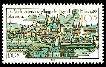 10 + 5 Pf Briefmarke: 10. Briefmarkenausstellung der Jugend Erfurt, Erfurt um 1520