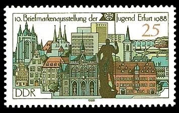 25 Pf Briefmarke: 10. Briefmarkenausstellung der Jugend Erfurt, Erfurt im Jahre 1988