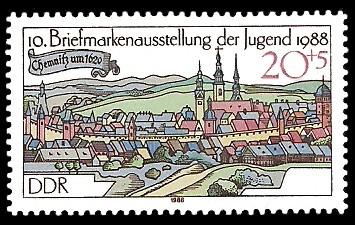 20 + 5 Pf Briefmarke: 10. Briefmarkenausstellung der Jugend 1988, Chemnitz