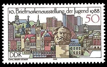 50 Pf Briefmarke: 10. Briefmarkenausstellung der Jugend 1988, Karl-Marx-Stadt