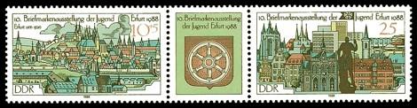 Briefmarke: Dreierstreifen - 10. Briefmarkenausstellung der Jugend Erfurt