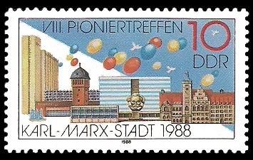 10 Pf Briefmarke: VIII. Pioniertreffen Karl-Marx-Stadt, Gebäude