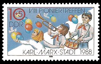 10 + 5 Pf Briefmarke: VIII. Pioniertreffen Karl-Marx-Stadt, Pioniere