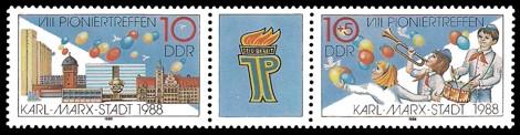 Briefmarke: Dreierstreifen - VIII. Pioniertreffen Karl-Marx-Stadt