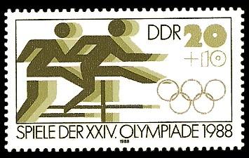20 + 10 Pf Briefmarke: Spiele der XXIV. Olympiade 1988, Hürdenlauf