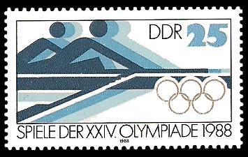 25 Pf Briefmarke: Spiele der XXIV. Olympiade 1988, Rudern