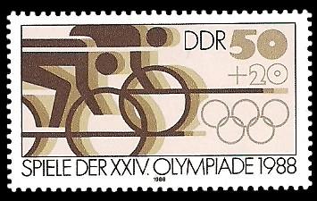 50 + 20 Pf Briefmarke: Spiele der XXIV. Olympiade 1988, Radrennen