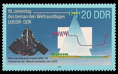 20 Pf Briefmarke: 10. Jahrestag des Weltraumflluges UdSSR-DDR, Mehrkanalspektrometer