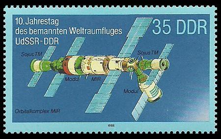 35 Pf Briefmarke: 10. Jahrestag des Weltraumflluges UdSSR-DDR, Orbitalkomplex MIR