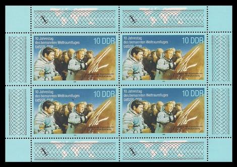 Briefmarke: Kleinbogen - 10. Jahrestag Weltraumfllug UdSSR-DDR, Jähn u Bykowski