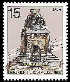 15 Pf Briefmarke: Leipziger Herbstmesse 1988, Völkerschlachtdenkmal