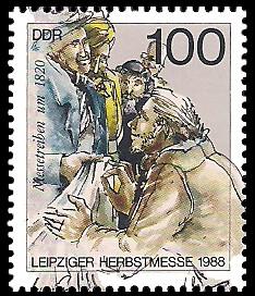 100 Pf Briefmarke: Leipziger Herbstmesse 1988, Messetreiben