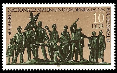 10 Pf Briefmarke: 30 Jahre Nationale Gedenkstätte Buchenwald