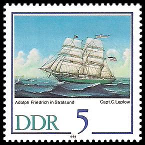 5 Pf Briefmarke: 500 Jahre Schiffer-Compagnie Stralsund, Segelschiffe, Adolph Friedrich