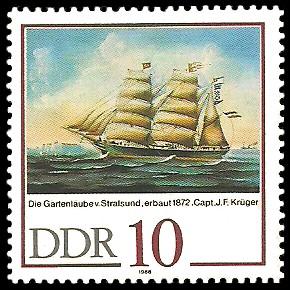 10 Pf Briefmarke: 500 Jahre Schiffer-Compagnie Stralsund, Segelschiffe, Die Gartenlaube