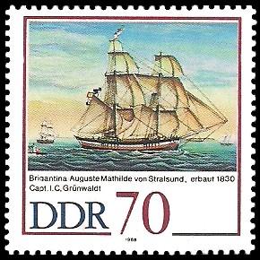 70 Pf Briefmarke: 500 Jahre Schiffer-Compagnie Stralsund, Segelschiffe, Auguste Mathilde