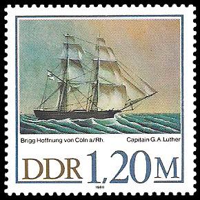 1,20 M Briefmarke: 500 Jahre Schiffer-Compagnie Stralsund, Segelschiffe, Hoffnung