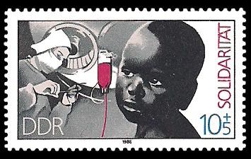 10 + 5 Pf Briefmarke: Internationale Solidarität