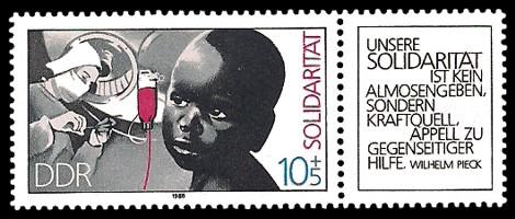 Briefmarke: Solidarität - Zierfeld schwarz