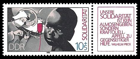 Briefmarke: Solidarität - Zierfeld rot