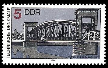 5 Pf Briefmarke: Technische Denkmale, Hubbrücke Magdeburg