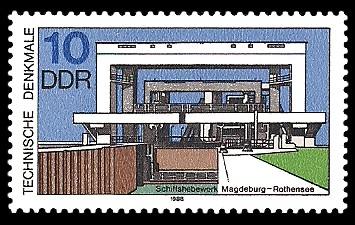 10 Pf Briefmarke: Technische Denkmale, Schiffshebewerk Magdeburg-Rothensee