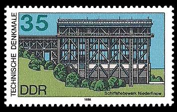 35 Pf Briefmarke: Technische Denkmale, Schiffshebewerk Niederfinow