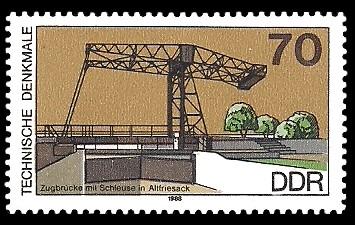 70 Pf Briefmarke: Technische Denkmale, Zugbrücke/Schleuse Altfriesack