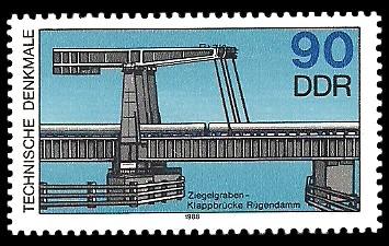 90 Pf Briefmarke: Technische Denkmale, Ziegelgraben-Klappbrücke
