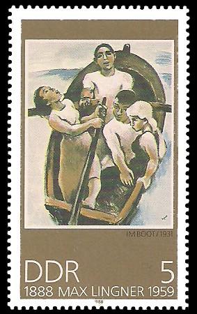 5 Pf Briefmarke: 100. Geburtstag Max Lingner, Im Boot
