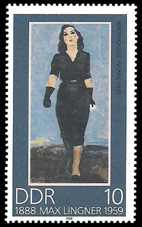 10 Pf Briefmarke: 100. Geburtstag Max Lingner, Mademoiselle Yvonne