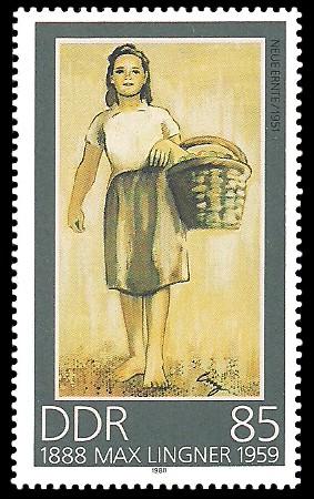 85 Pf Briefmarke: 100. Geburtstag Max Lingner, Neue Ernte