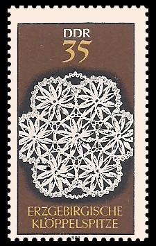 35 Pf Briefmarke: Erzgebirgische Klöppelspitze