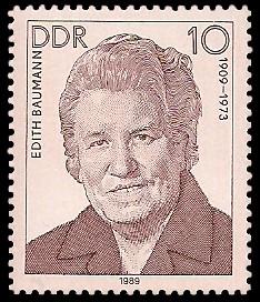 10 Pf Briefmarke: Verdienstvolle Persönlichkeiten der Arbeiterbewegung, Edith Baumann