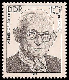 10 Pf Briefmarke: Verdienstvolle Persönlichkeiten der Arbeiterbewegung, Alfred Oelssner